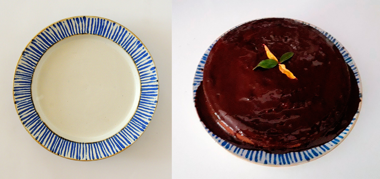 bizcocho zanahoria sobre plato cerámica artesanal