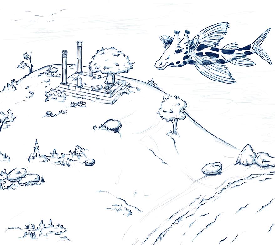 Pez jirafa sobrevolando ruinas