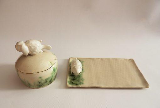 bandeja y caja ceramica artesanal
