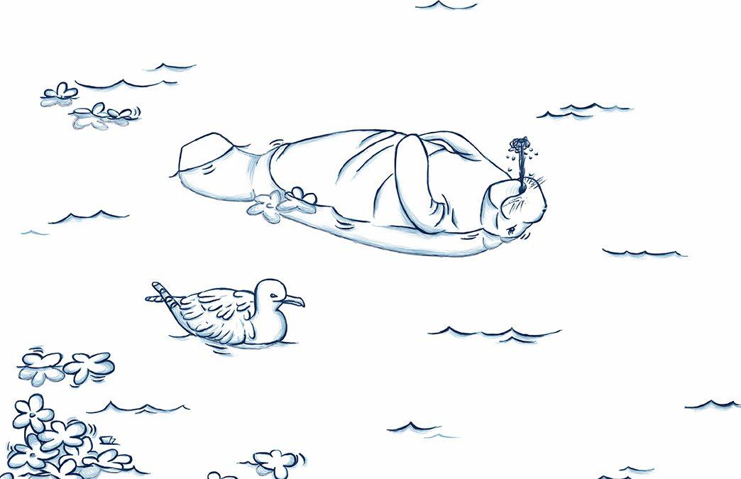 La manatí y la gaviota, por Kika