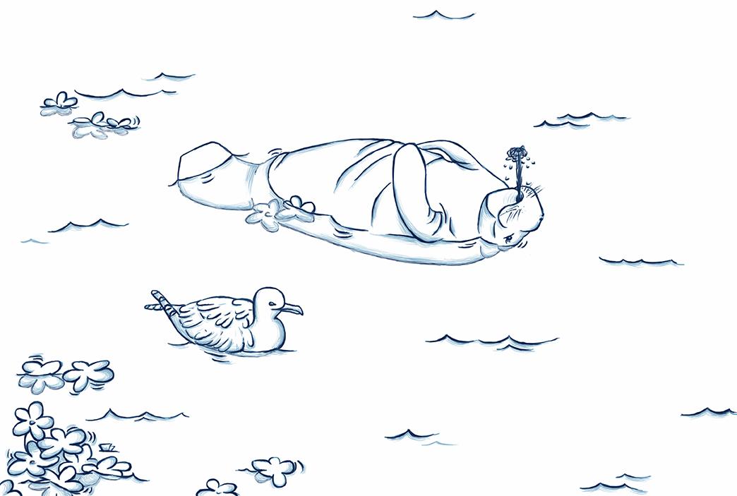 Dibujo de manatí y gaviota