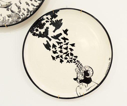 plato decorativo ceramica carnero