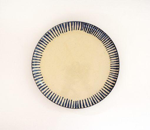 plato artesania ceramica rayas azul