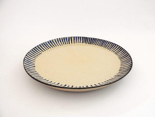 plato ceramica rayas azul