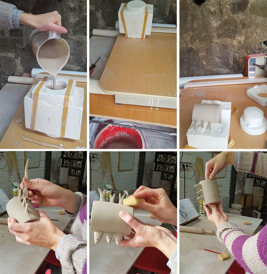 Cerámica artesanal molde por colada