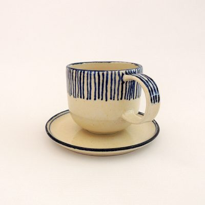 taza artesania ceramica rayas