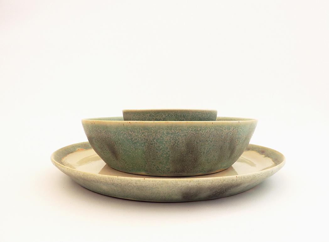Vajilla con plato llano hondo y cuenco nube mar a monasterio cer mica - Vajilla ceramica artesanal ...