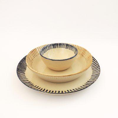 vajilla artesania ceramica rayas