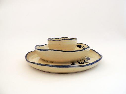 vajilla artesania ceramica flor
