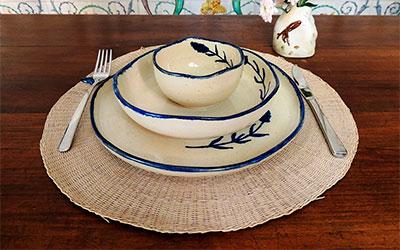 vajilla flor silvestre artesania ceramica